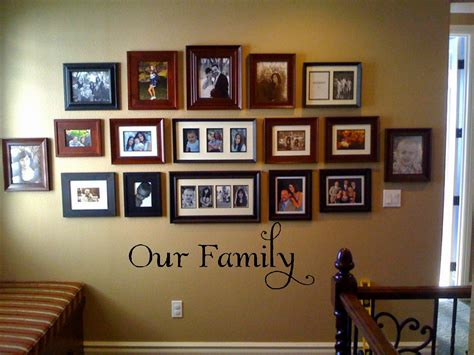 picture hanging ideas our family vinyl wall decor lettering quote phrase
