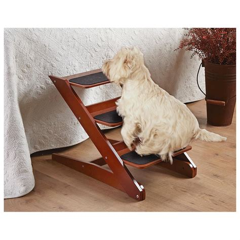 puppy steps 3 step foldable wood pet steps 588788 pet accessories at sportsman s guide