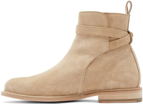 ami beige suede buckle boots in for lyst