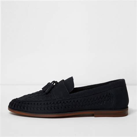 navy blue loafers river island navy blue woven suede loafers in blue for