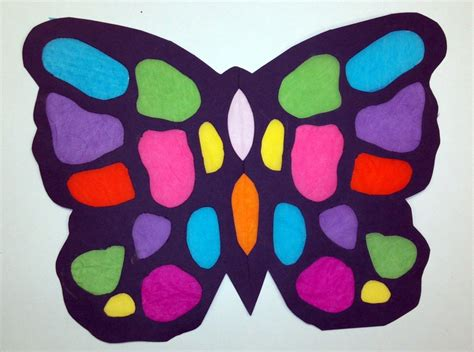 Construction Paper Butterfly Craft - quot stained glass quot butterfly tissue paper and black