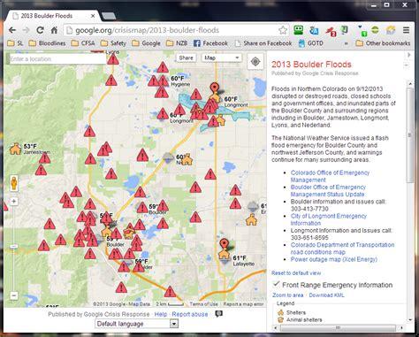 map of colorado lyons publishes crisis response map for boulder colorado