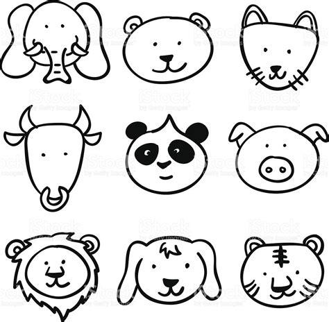 imagenes a blanco y negro de dibujos animados dibujos animados colecci 243 n cabeza animal en blanco y negro