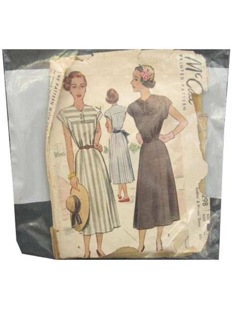 envelope dress pattern 50 s vintage sewing pattern 50s mccalls pattern no 7298