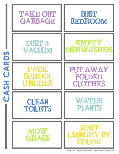 Chore Cards Template by How To Make A Chore Chart For Living Well Spending