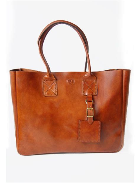 Handmade Leather Satchel - cognac new york tote handmade leather tote bag