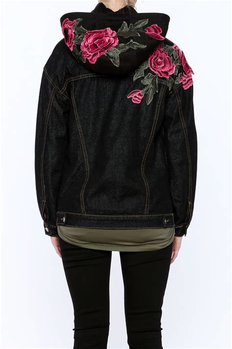 Floral Hooded Jacket polly esther floral embroidered hooded jacket from