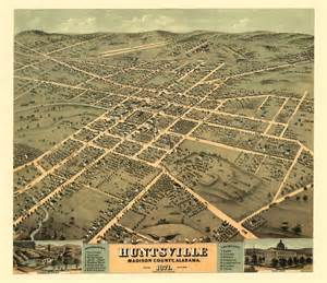 Home Decor Huntsville Al Vintage Poster Historic Map Of Huntsville Alabama 1871