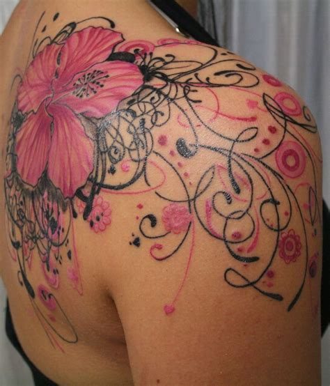 pink flower tattoo shoulder cap tattoos for www pixshark