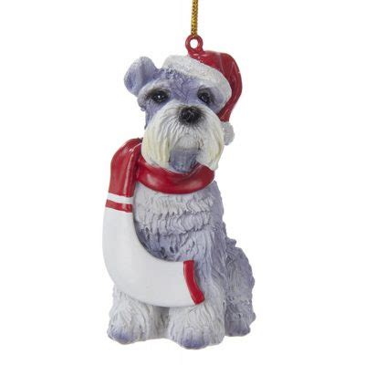 schnauzer resin santa ornament 3 9 inches