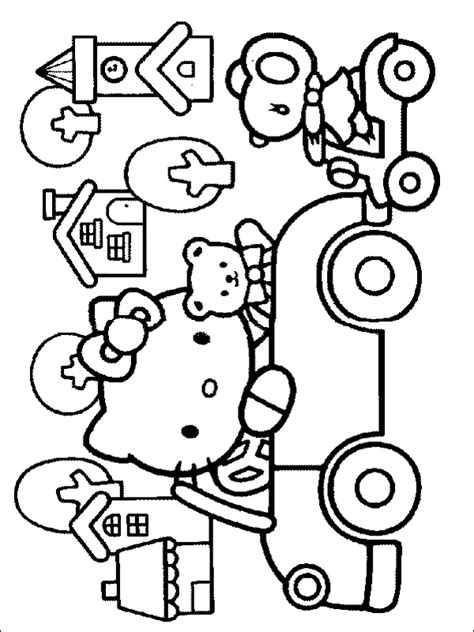 hello kitty car coloring pages hello kitty hello kitty coloring pic