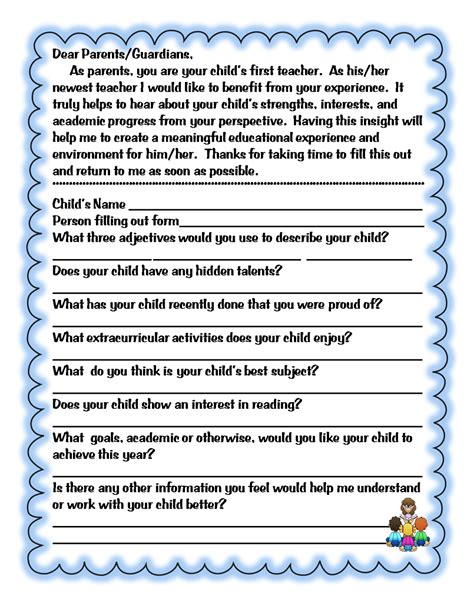 Parent Letter Beginning School Year Grade Wow Beginning Of The Year Forms