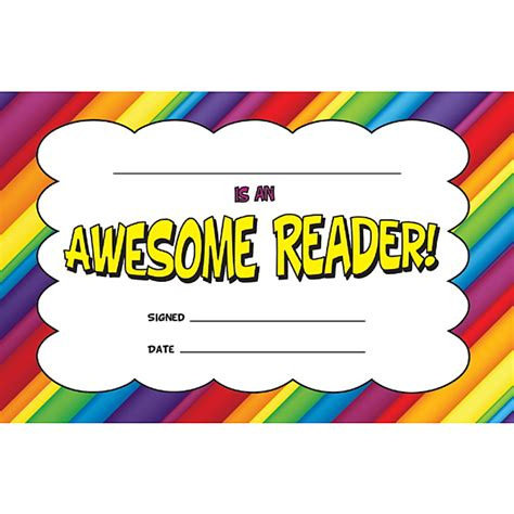 Kids Wall Decor Stickers demco com awesome reader reading certificate