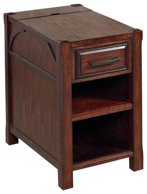 Hammary Scholar Charging Chairside Table in Chocolate Brown with White Glaze   Traditional