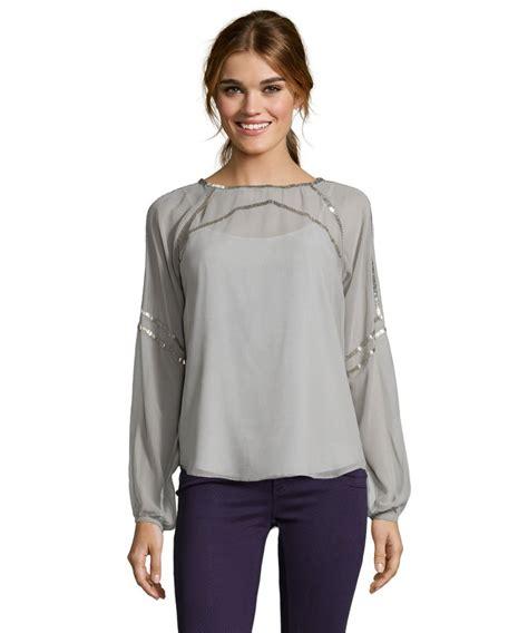 K Blouse aryn k women s grey and silver bateau neck embellished blouse clothing style