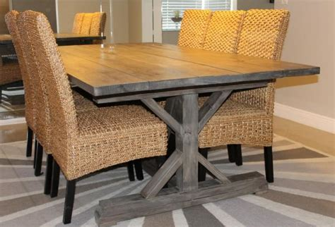 ana white dining room table and benches diy projects weathered gray fancy x farmhouse table with extensions