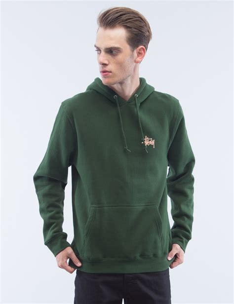 Hoodie Stussy New Yorkleadermerch stussy basic hoodie in green for lyst