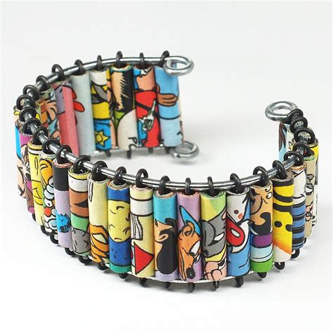 paper bead bracelets for sale paper bead jewelry comic book cuff bracelet by tanith