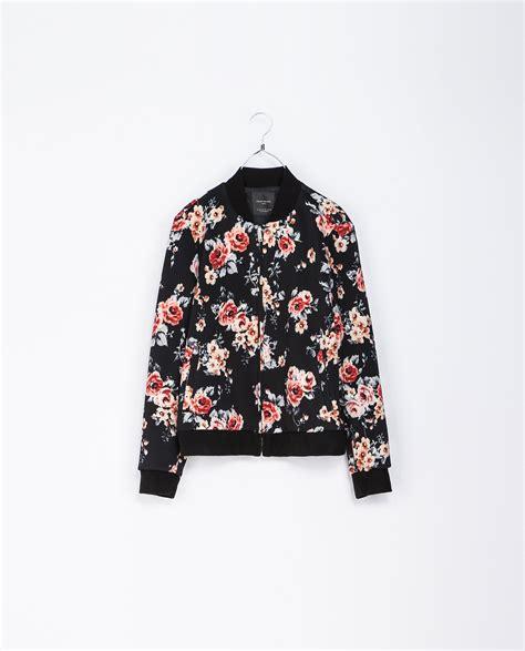 Floral Jacket zara floral bomber jacket in floral black lyst