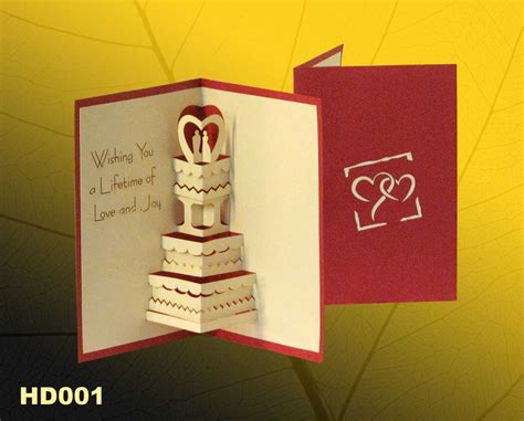 Handmade Greeting Cards For - wedding 1 pop up handmade greeting cards hd001