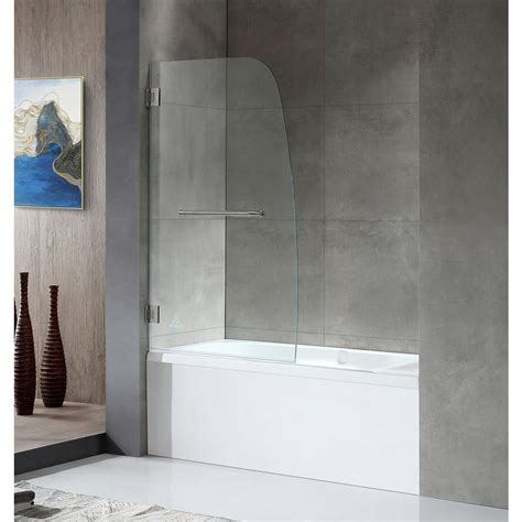 anzzi grand series      frameless hinged tub door  brushed nickel  towel bar