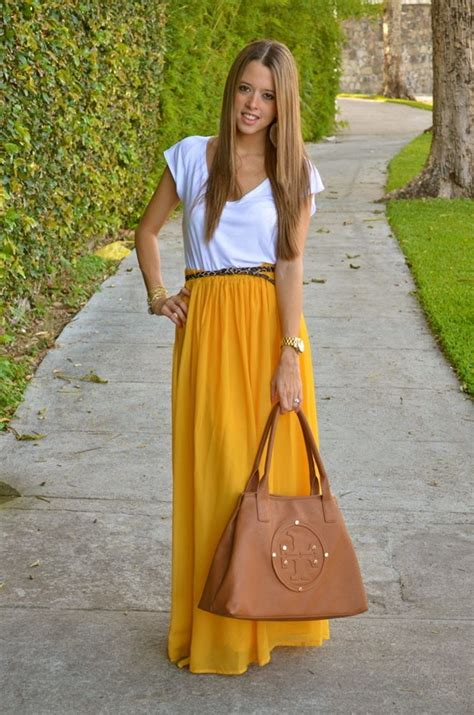 yellow maxi skirt my style