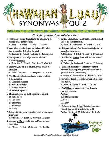 printable themed quiz luau games luau party games luau synonyms quiz luau
