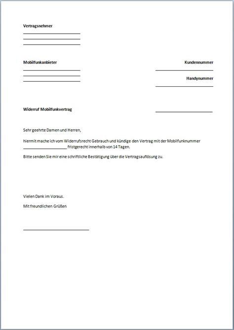 K Ndigung Schreiben Muster Handy k 252 ndigung handyvertrag vorlage text word pdf
