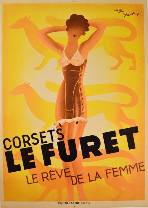 corsets le furet original french art deco poster modernism
