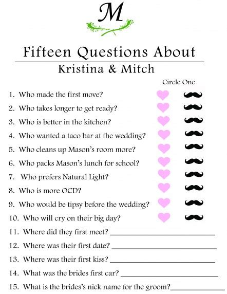 bridal shower trivia questions template photo bridal shower where image