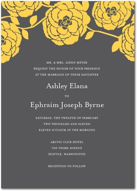 Gray And Yellow Floral Wedding Invitation By Ccoinc Sophonie S The Anglican Church 39s Wedding Services