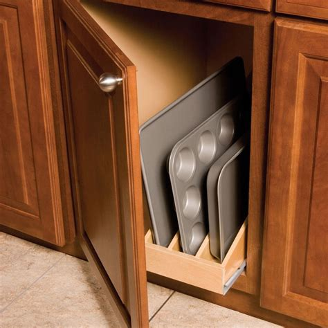 kitchen cabinet divider organizer tray roll out for 15 quot base cabinet 3 dividers t3196mnl1