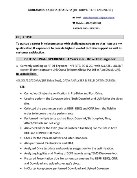 Rf Drive Test Engineer Cover Letter by Rf Engineer Resume Resume Ideas