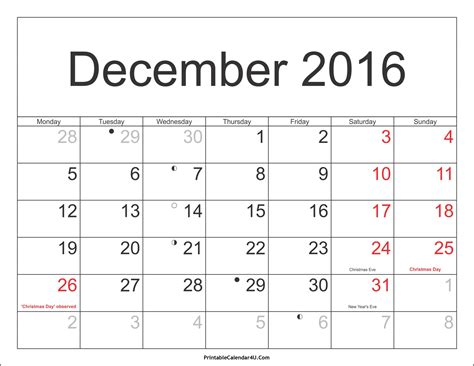 2016 calendar with holidays usa december 2016 calendar with holidays usa singapore uk