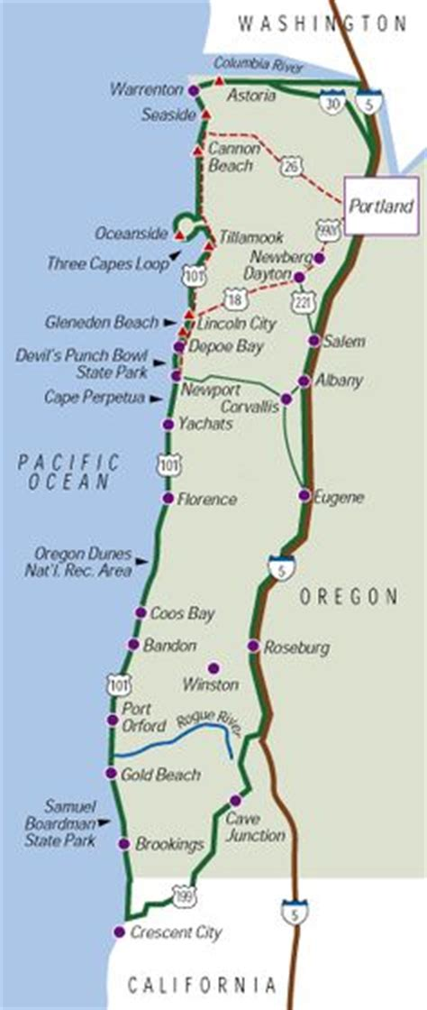 map of oregon coast oregon coast to san francisco map