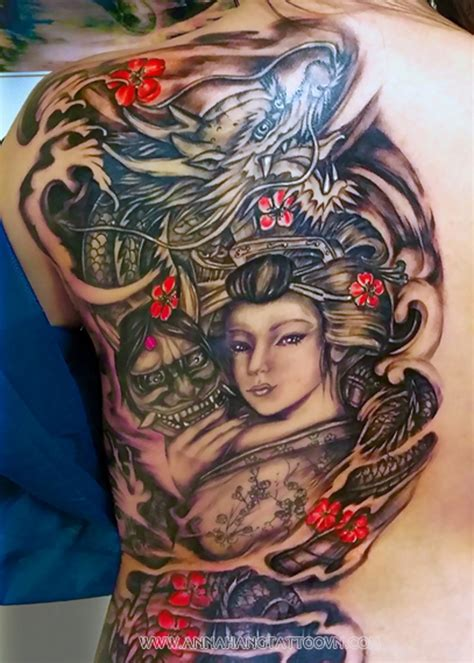 half back tattoo picturesque colored big half back of asian geisha