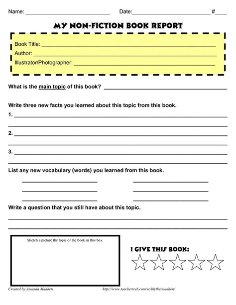 fourth grade book report forms 4th grade book report