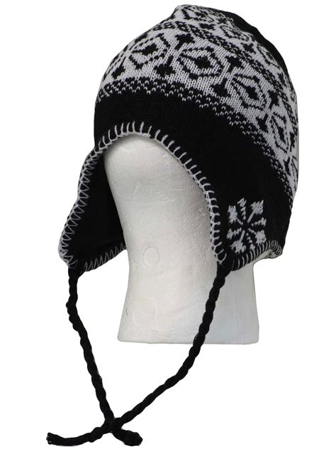 knit hat with ear flaps snowflake ear flap knit hat made new recently