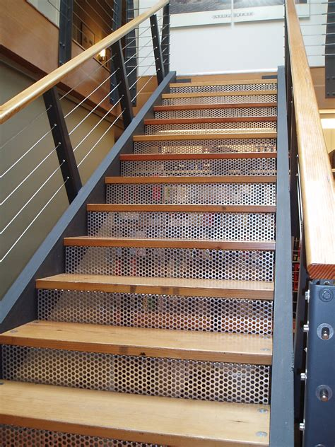 metal stairs mcnichols 174 perforated metal forms risers of a staircase
