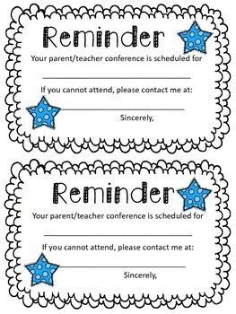 reminder templates for teachers parent conference reminder note by oh miss tpt