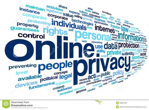 privacy policy the earth times online privacy in word tag cloud stock photo image 55391230