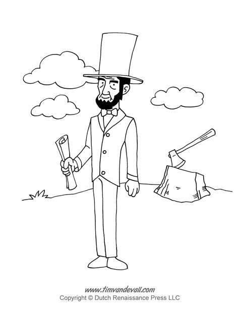 abraham lincoln free colouring pages