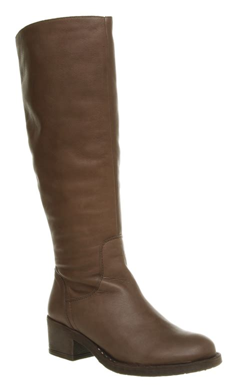 womens office junction knee high brown leather boots ebay