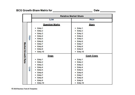 bcg matrix template out of darkness