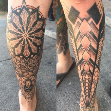 half leg sleeve tattoo geometric half leg sleeve by jiao tattoos