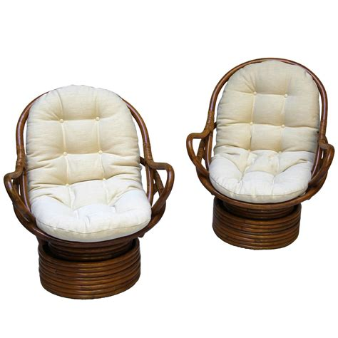 Pair Of Swivel Bamboo Rattan Lounge Chairs Sun Products Bamboo Swivel Chair