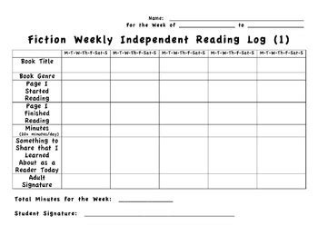 4th grade interactive reading log common core aligned by