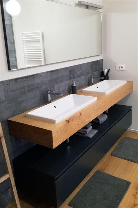 bagni con legno mobile bagno con mensola in legno doppio lavabo