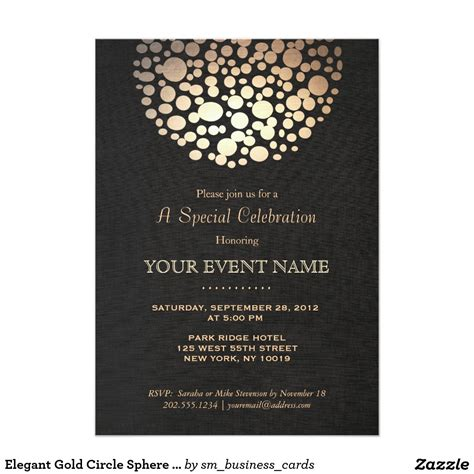 gold circle sphere black linen look formal card