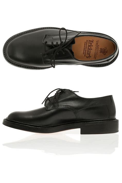 tricker s plain derby shoes in black for lyst